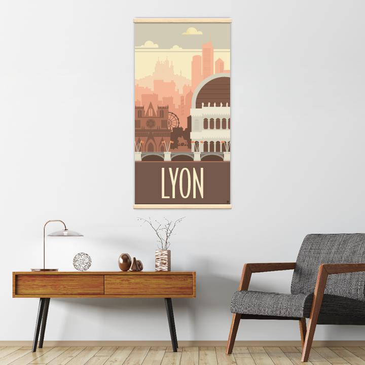 Décoration intérieure avec le kakémono décoratif Lyon rétro
