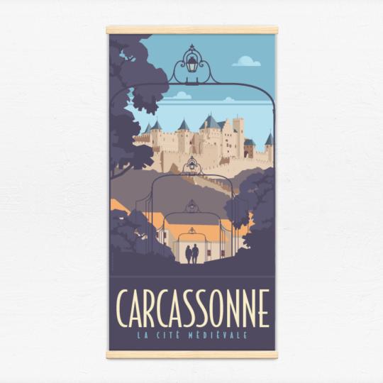 Kakémono décoratif avec l'illustration Carcassonne la cité