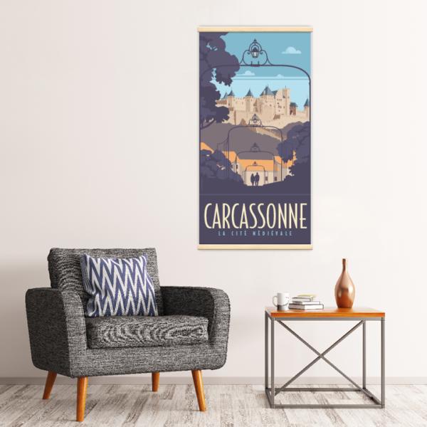 Décoration intérieure avec le kakémono décoratif Carcassonne la cité