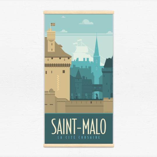 Kakémono décoratif avec l'illustration Saint-Malo rétro
