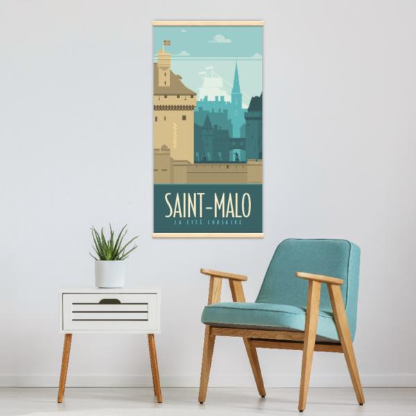 Décoration intérieure avec le kakémono décoratif Saint-Malo rétro