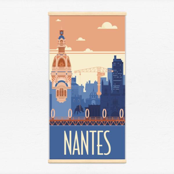 Kakémono décoratif avec l'illustration Nantes rétro