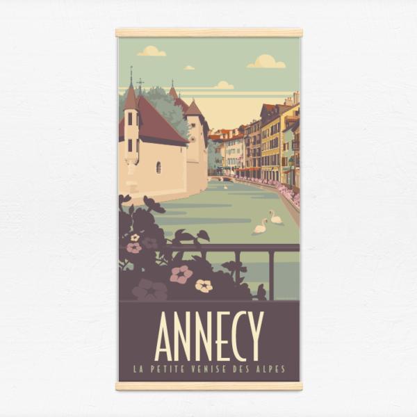 Kakémono décoratif avec l'illustration Annecy La Vieille Ville