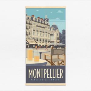 Kakémono décoratif avec l'illustration Montpellier Comédie