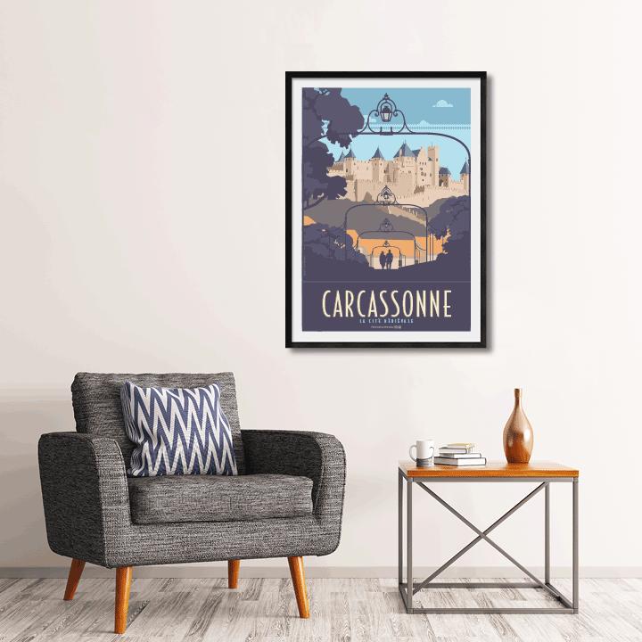 Décor avec l'affiche encadrée Carcassonne la cité