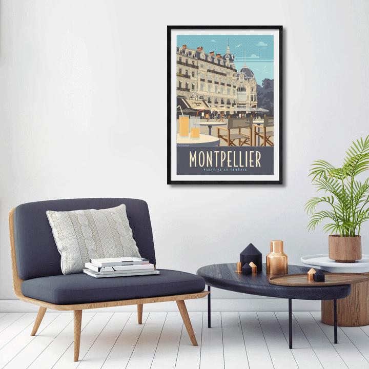 Décor avec l'affiche encadrée Montpellier Comédie