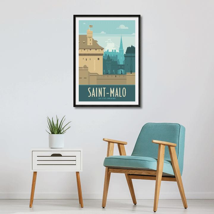 Décor avec l'affiche encadrée Saint-Malo rétro