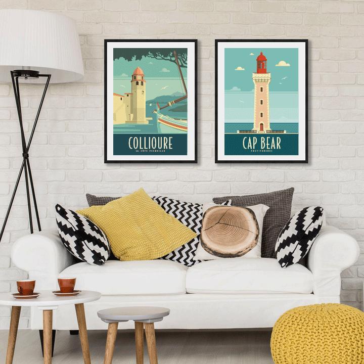 Décoration avec deux affiches encadrées Travel Poster