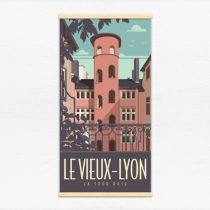 Kakémono décoratif avec l'illustration Lyon la Tour Roe-se