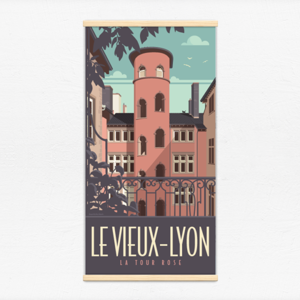 Kakémono décoratif avec l'illustration Lyon la Tour Rose