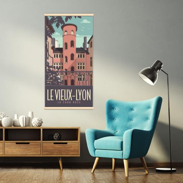 Décoration intérieure avec le kakémono décoratif Lyon la Tour Rose