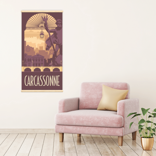 Décoration intérieure avec le kakémono décoratif Carcassonne rétro