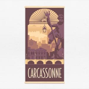 Kakémono décoratif avec l'illustration Carcassonne rétro