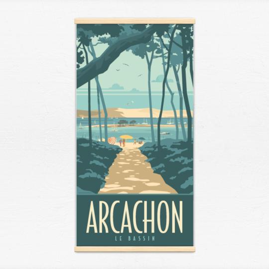 Kakémono décoratif avec l'illustration Arcachon le Bassin