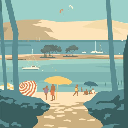 Gros plan de l'illustration Arcachon le Bassin