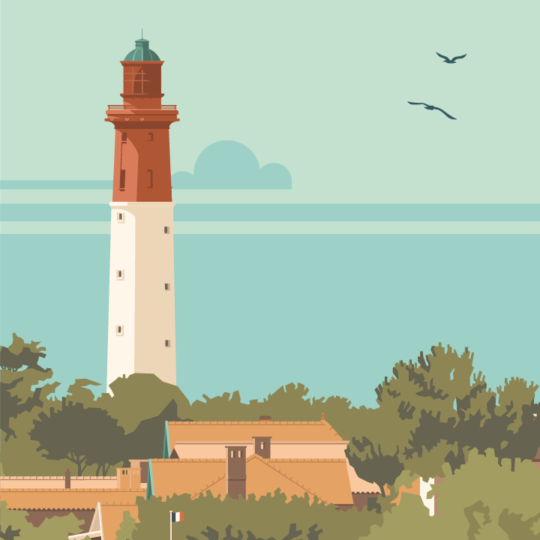 Gros plan de l'illustration Cap Ferret le Phare-Bleu