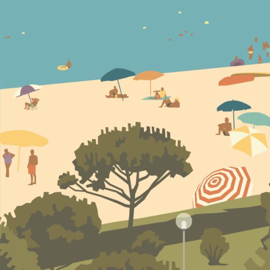 Gros plan de l'illustration Argeles plage des pins