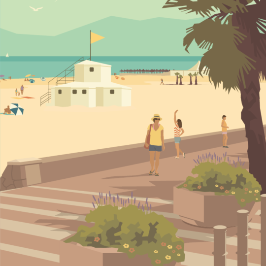 Gros plan de l'illustration Canet plage